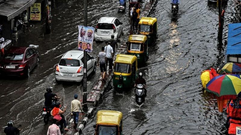 Stretches around Pitampura and Kamla Nagar were also snarled due to this.  (Photo: ANI)