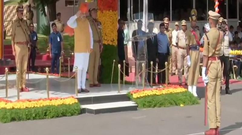 Union Home Minister Amit Shah on Saturday attended the passing out parade of IPS probationers at National Police Academy in Hyderabad. (Photo: ANI)