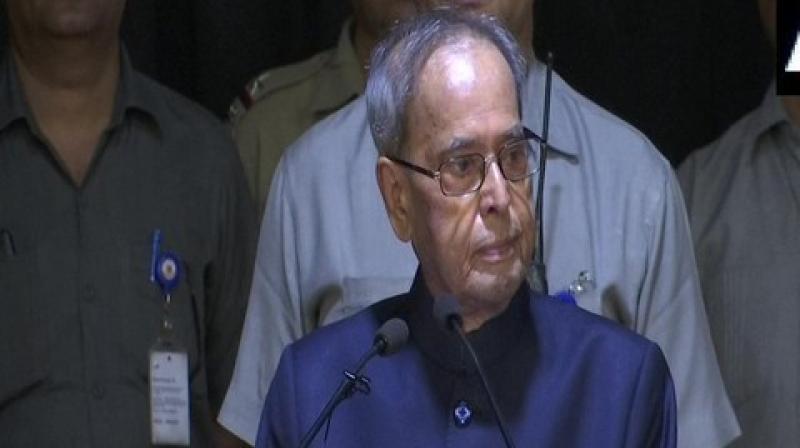 Former President Pranab Mukherjee said here on Thursday that Gross Happiness is no less important than Gross Domestic Product (GDP), and its basic foundation is education. (Photo: ANI)