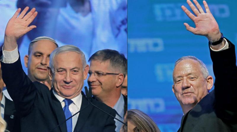 Israel's embattled Prime Minister Benjamin Netanyahu on Thursday called on his main challenger Benny Gantz to form a unity government together to avoid a third election, as results of the unprecedented repeat election left the country's two main political parties deadlocked. (Photo: AFP)