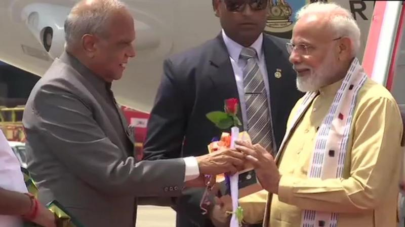 Prime Minister Narendra Modi reached Thiruvidanthai village near Kovalam town, where he was received by Tamil Nadu Minister K Pandiarajan. (Photo: Twitter/ ANI)