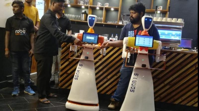 Robo Chef, a first of its kind restaurant in the city has two robots that interact with customers and serve food. (Photo: ANI)