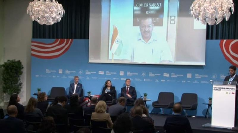 Kejriwal could not attend the C-40 Climate Summit in Denmark on October 11 after the Ministry of External Affairs refused political clearance to his visit. He addressed it through video link. (Photo: YouTube screengrab/ C40CitiesLive)
