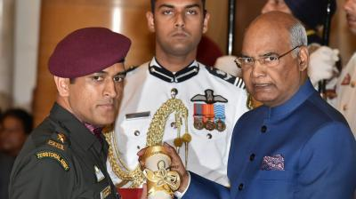 Dhoni marched past the dignitaries present at the Rashtrapathi Bhavan before receiving the honour from President Ram Nath Kovind. (Photo: PTI)