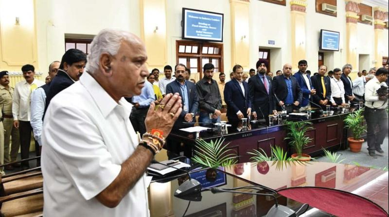 Chief Minister B.S. Yediyurappa during a meeting with industrialists at Vidhana Soudha in Bengaluru on Wednesday. (KPN)