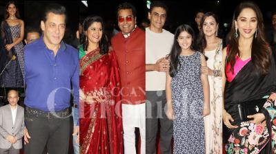 On Friday night, Rajshri production organised celebration of 25 years of Hum Aapke Hain Koun at Liberty Cinema, Mumbai. The all-time blockbuster's stars Salman Khan, Madhuri Dixit-Nene, Renuka Shahane, Mohnish Bahl and others revisit those golden memories by attending the event. (Photos: Viral Bhayani)