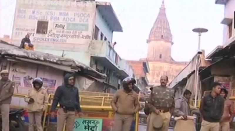 A large contingent of the police force has been deployed in Ayodhya.  (Photo: ANI | Twitter)