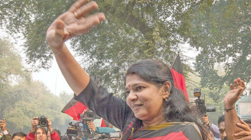 DMK MP Kanimozhi leaves the Patiala House court after the verdict for her connection in 2G scam, in New Delhi on Thursday. 	(Photo: PTI)