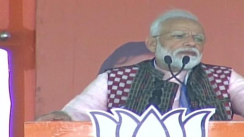 The Congress poll manifesto will give an open license to those who misguide peaceful tribals in forests, Modi said referring to naxals. (Photo: ANI)