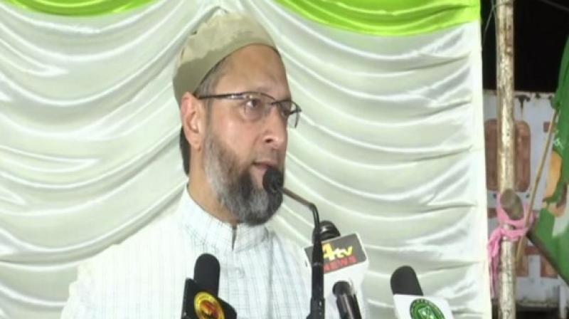 'BJP says that they will form a government in Telangana. K Chandrashekar Rao is a staunch Hindu, if Modi goes to two temples, KCR will go to six,' said Owaisi at a public meeting at Teegal Kunta. (Photo: ANI)