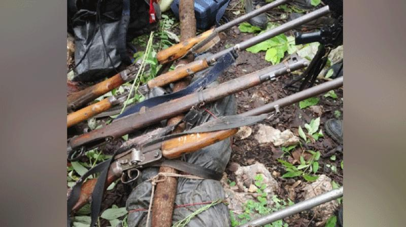 Bodies of the four Naxals along with seven weapons were recovered. (Photo: ANI)