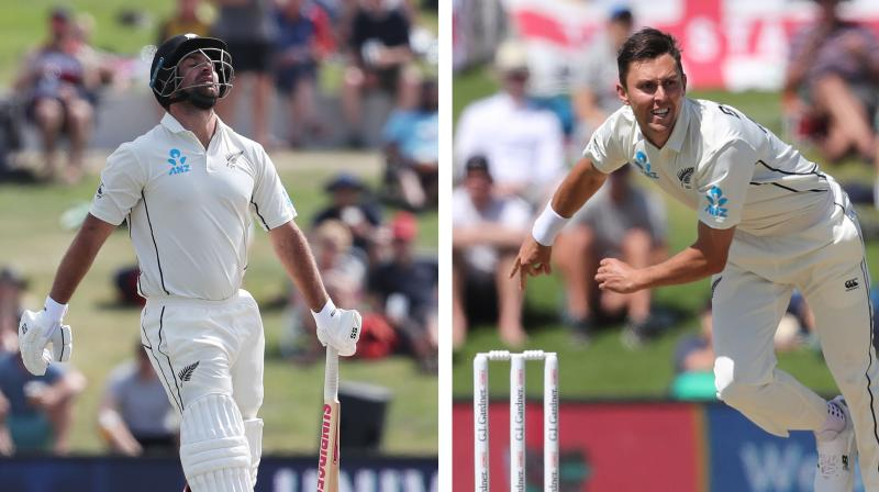 Injured New Zealand cricketers Trent Boult and Colin de Grandhomme, who sat out the drawn second Test against England, remained in doubt Tuesday for the upcoming series in Australia. (Photo:AFP)