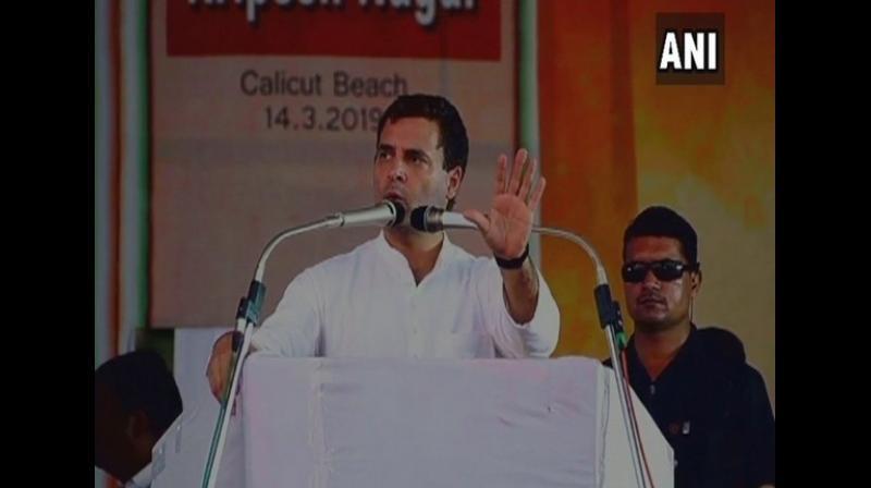 Rahul Gandhi at a campaign in Kerala. (Photo: ANI)