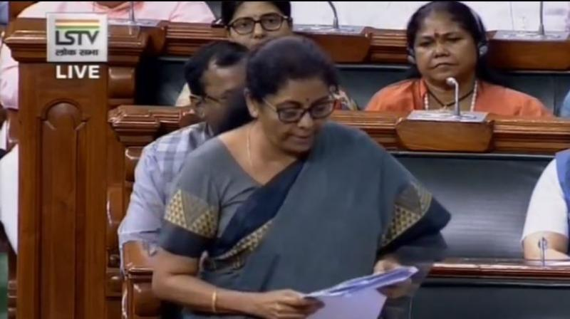 Finance Minister referred to the government setting fiscal deficit target of 3.3 per cent from an earlier 3.4 per cent and said there should be no anxiety. (Photo: ANI)