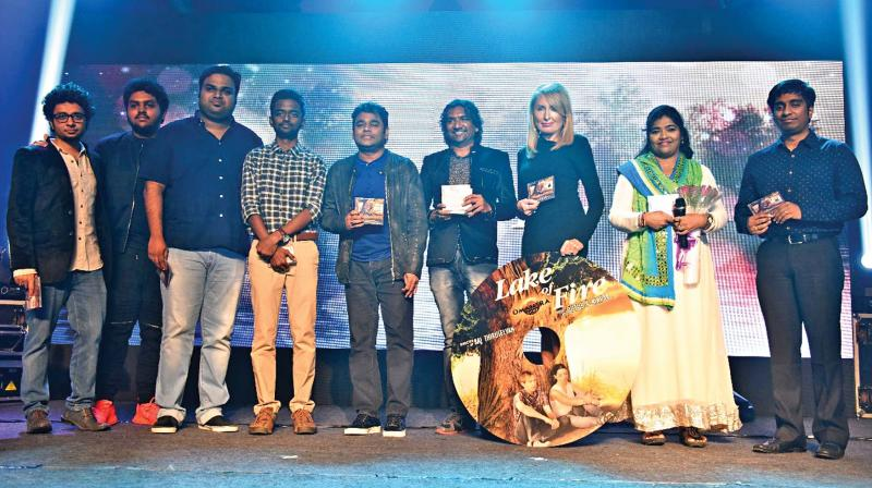 The music team at the audio launch of Hollywood film Lake of Fire.