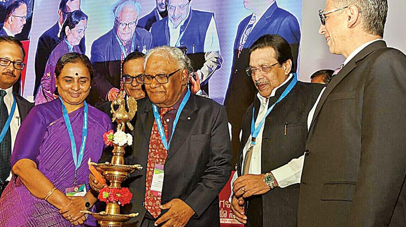 Noted scientist Prof. C.N.R. Rao, Chief Secretary, K. Ratnaprabha, Minister M.R. Seetharam and others during the inauguration of Bengaluru India Nano 2017 in Bengaluru on Thursady —DC