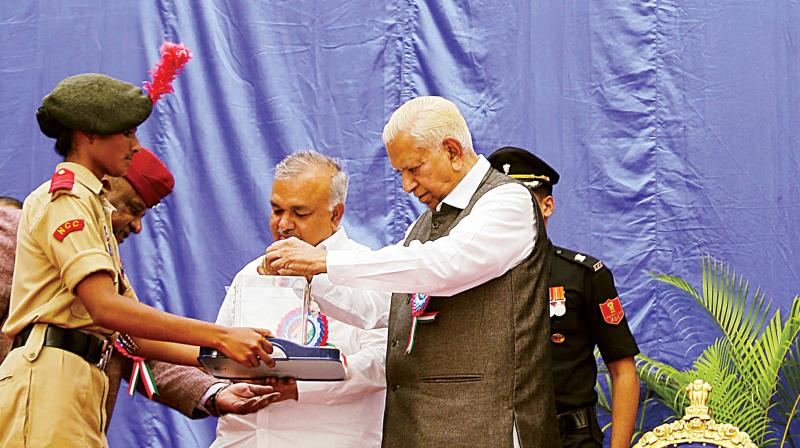 Governor Vajubhai Vala at Armed Forces Flag Day celebrations in Bengaluru on Thursday  – KPN
