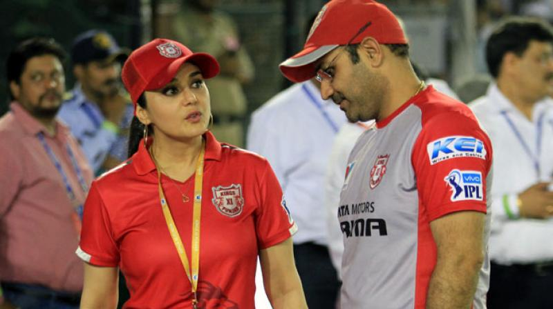 KXIP boss Preity Zinta denies rift with team director Virender Sehwag