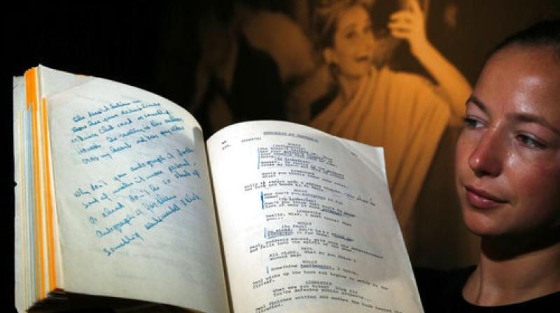 A script for the film 'Breakfast at Tiffany's' owned by the iconic actress Audrey Hepburn is displayed at Christie's auction house in London, Friday, Sept. 22, 2017. (Photo: AP)