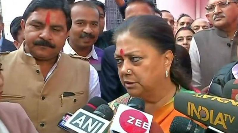 'To set an example for future it's important that EC takes cognisance of this kind of language,' Rajasthan Chief Minister Vasundhara Raje said. (Photo: ANI)