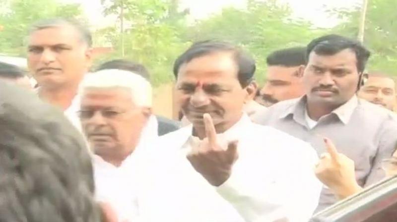Telangana Rashtra Samiti (TRS) is going alone in the ongoing Assembly polls in Telangana. (Photo: ANI)