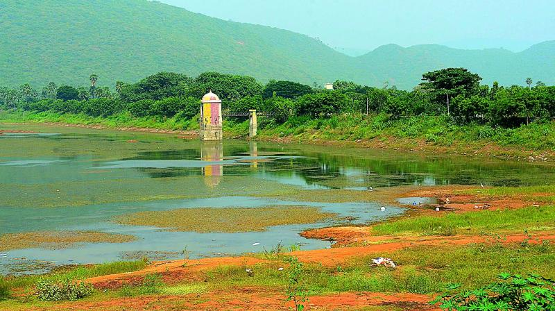 The rapidly drying Mudasarlova reservoir in Visakhapatnam.  (Deccan chronicle)
