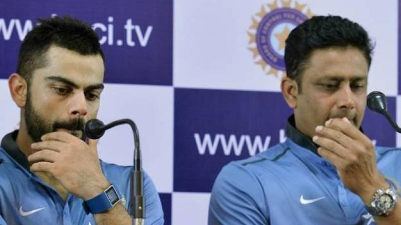 It was earlier reported that Team India head coach Anil Kumble and skipper Virat Kohli were not on the same page over team selection during the third India versus Australia Test in Ranchi. (Photo: AFP)