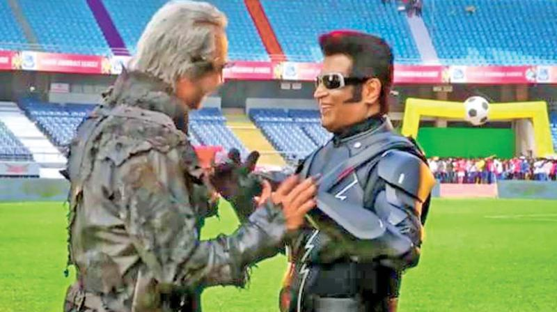 Akshay Kumar and Rajinikanth on the sets of 2.0.