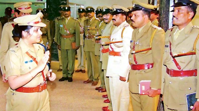 File photo of DIG (Prisons) D. Roopa with other officers.