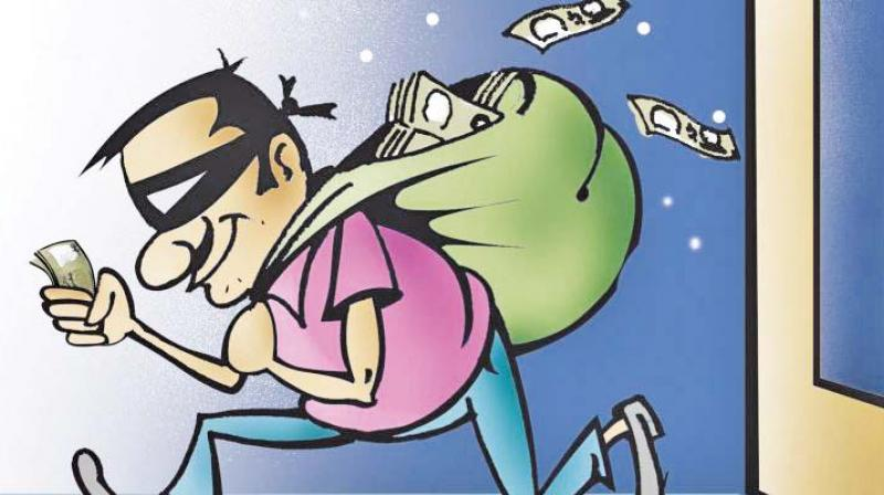 He rushed inside to find the bureau broken open and valuables - four sovereigns of gold and Rs 1 lakh in cash - had been stolen.
