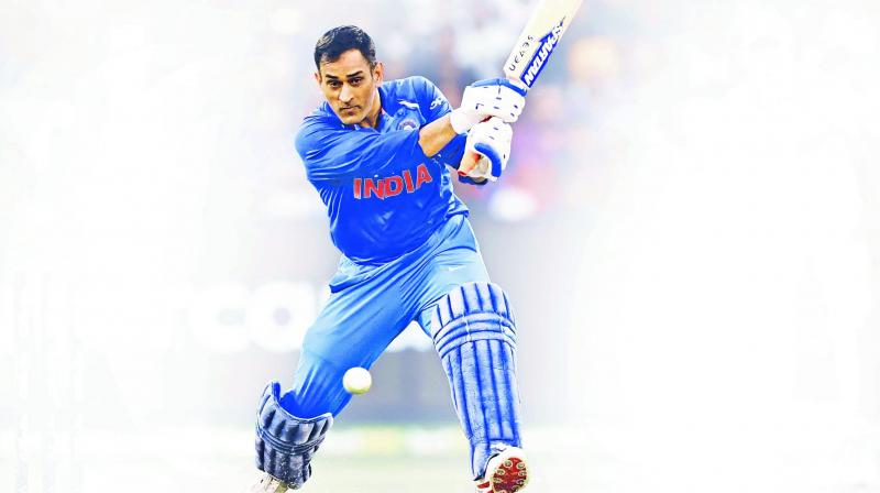 MS Dhoni en route to his match-winning knock of 87.  (Photo: AFP)