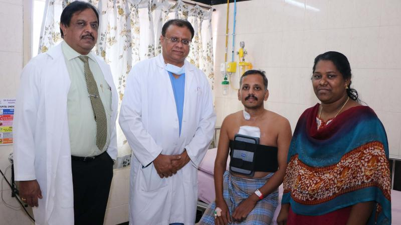 The 39-year old patient of Jehovah's Witnesses who recently underwent the off-pump coronary artery bypass grafting (CABG) procedure with the team of doctors at Sri Ramakrishna Hospital. (Image DC)