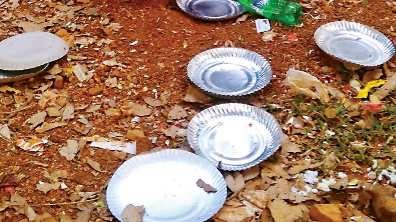 Almost all the roads inside the Cubbon Park, right from Central Library, Hudson Circle, Maharaja's Statue and Siddalingaiah Circle, were littered after a marathon on Saturday.