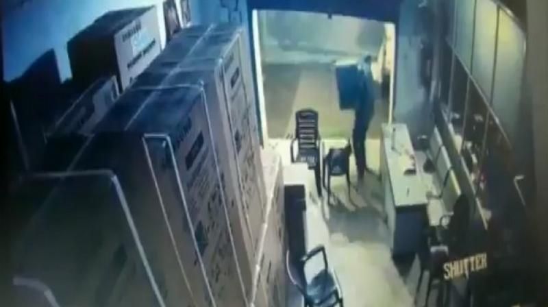 The incident took place on Sunday night and was captured on CCTV cameras installed in the premises. (ANI)