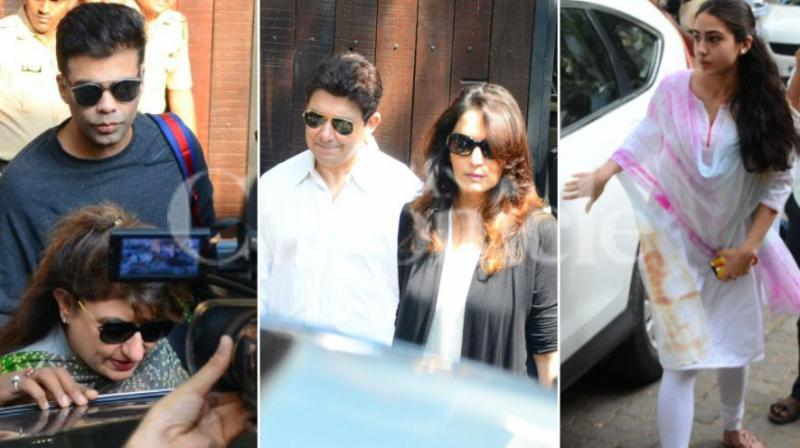 Bollywood celebs like Karan Johar, Madhuri Dixit-Nene and Sara Ali Khan visited Anil Kapoor's house to pay condolences to the Kapoor family after veteran actress Sridevi died in Dubai following a cardiac arrest and accidental drowning.