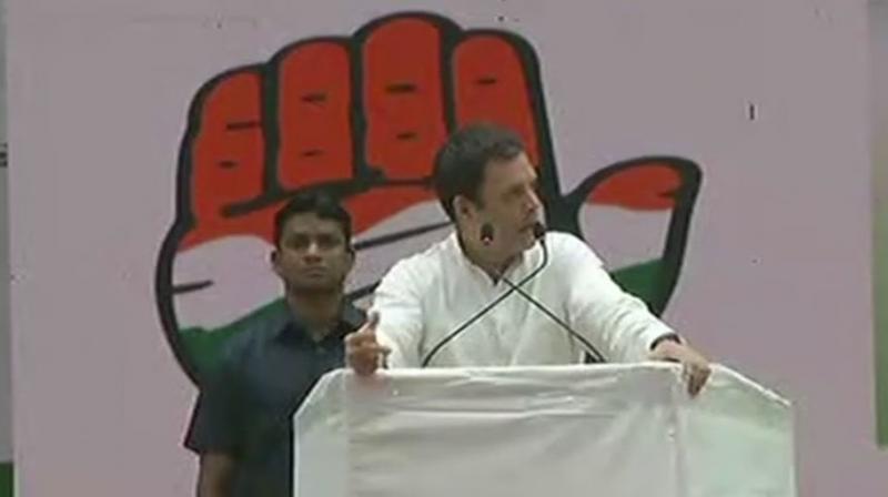 Congress president Rahul Gandhi in Raipur on Thursday. (Photo: ANI/Twitter)