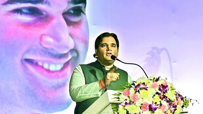 Varun Gandhi speaking at his book release function in Hyderabad on Tuesday. (Photo: DC)