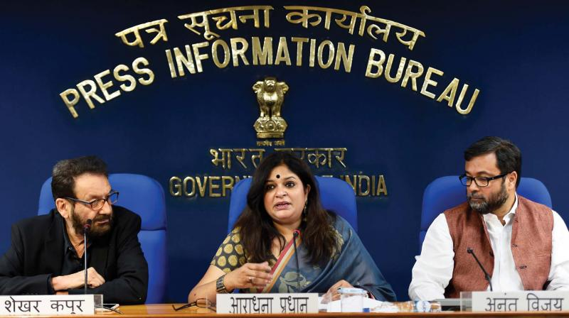 Chairpersons of the three juries (Feature, Non-feature and Writing) Shekhar Kapur, Aradhana Pradhan and Anant Vijay during a press conference to announce the 65th National Film Awards for the different categories, in New Delhi on Friday. (Photo: PTI)