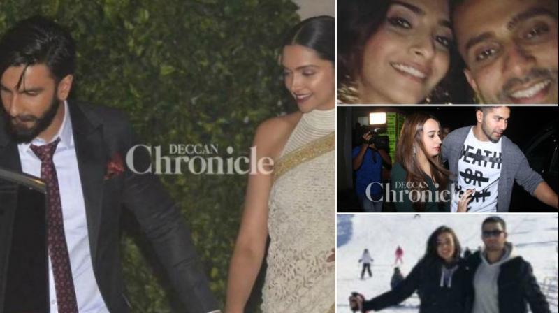 Ranveer Singh with Deepika Padukone, Sonam Kapoor with Anand Ahuja, Varun Dhawan with Natasha Dala, Amy Jackson with her boyfriend.