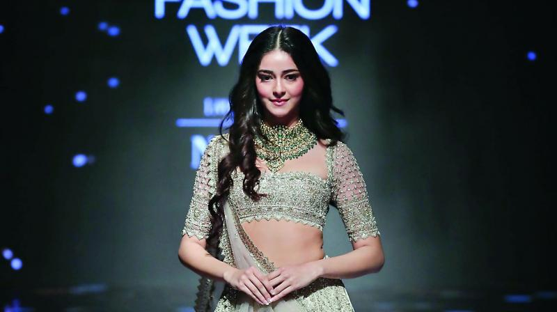 Ananya Panday walked the ramp in LFW for Anushree Reddy.