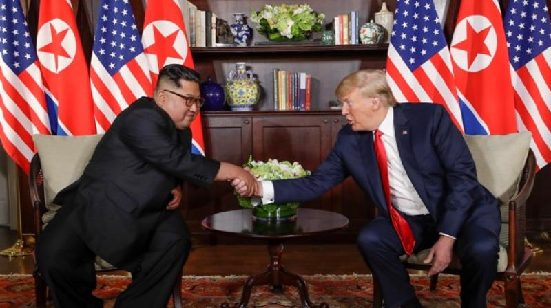 North Korea leader Kim Jong Un and US President Donald Trump during their first meeting at the Capella resort on Sentosa Island Tuesday, June 12, 2018 in Singapore. (Photo: AP)