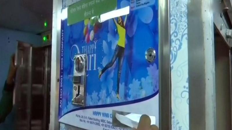 This is the first train in India in which a sanitary pad dispensation machine has been installed. (Photo: ANI)