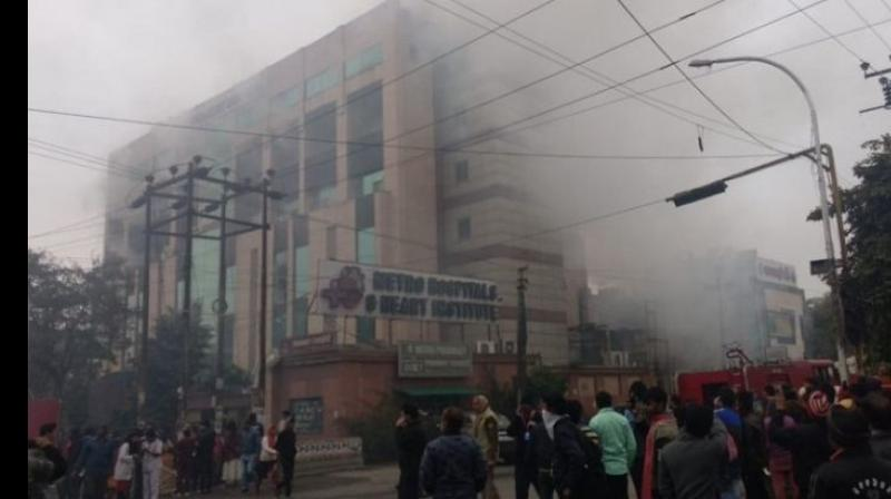 Thick smoke could be seen billowing out of the building in Sector 12. (Photo: ANI)