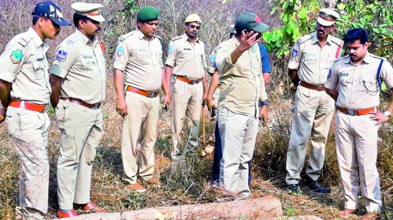 Police superintendent Vishnu S. Warrier seizes teakwood logs that were hidden in the bushes by the smugglers on the outskirts of Jogipet village in Sirikonda mandal in Adilabad district. (Photo:  DC)