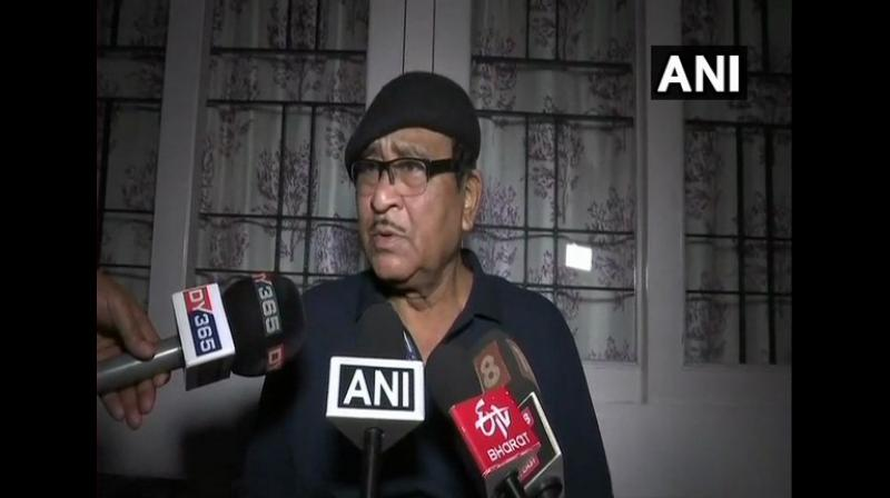 Late Bhupen Hazarika's brother Samar Hazarika talking to media persons in Guwahati on Monday. (Photo: ANI)