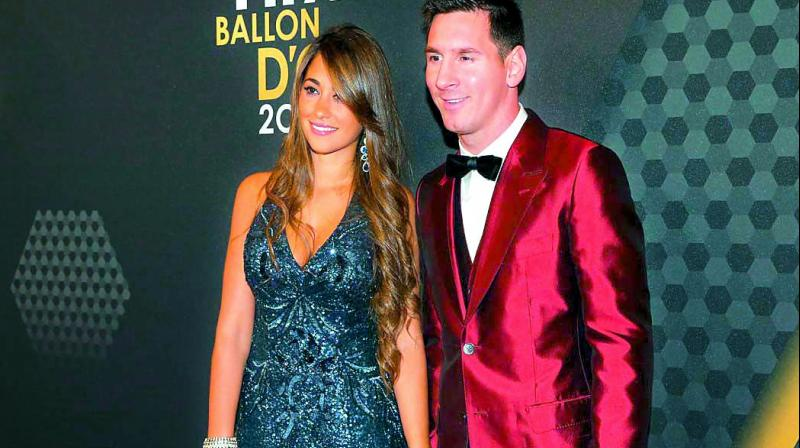 Antonella Roccuzzo with husband Lionel Messi.
