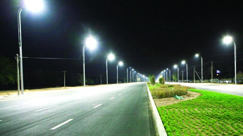 Hyderabad Faulty Street Lights Shine During Day