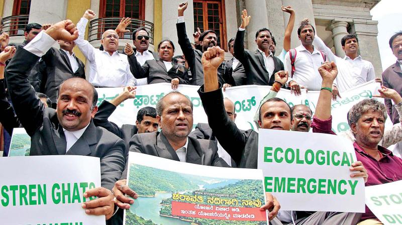 Western Ghats Environment Forum members protest against Sharavati water project for Bengaluru, at Town Hall.  (KPN)