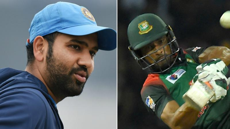 Rohit Sharma's (left) Team India are currently leading the points table, while Mahmudullah (right) led Bangladesh are currently last on the points table. (Photo: PTI / AFP)