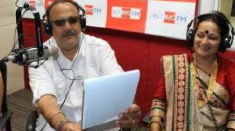 Alok Nath and Himani Shivpuri during their TV show promotions.